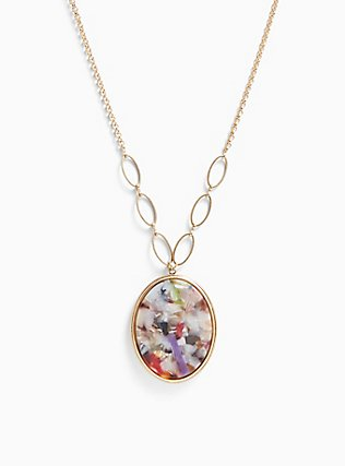 Plus Size Multicolored Resin Reversible Pendant, , alternate