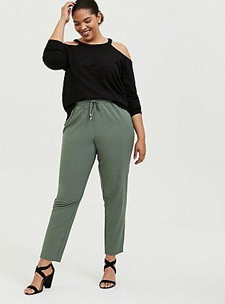 Light Olive Green Crepe Paperbag Waist Tapered Pant, AGAVE GREEN, alternate