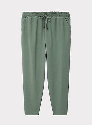 Light Olive Green Crepe Paperbag Waist Tapered Pant, AGAVE GREEN, flat