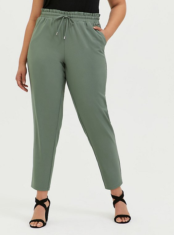 Light Olive Green Crepe Paperbag Waist Tapered Pant, , hi-res