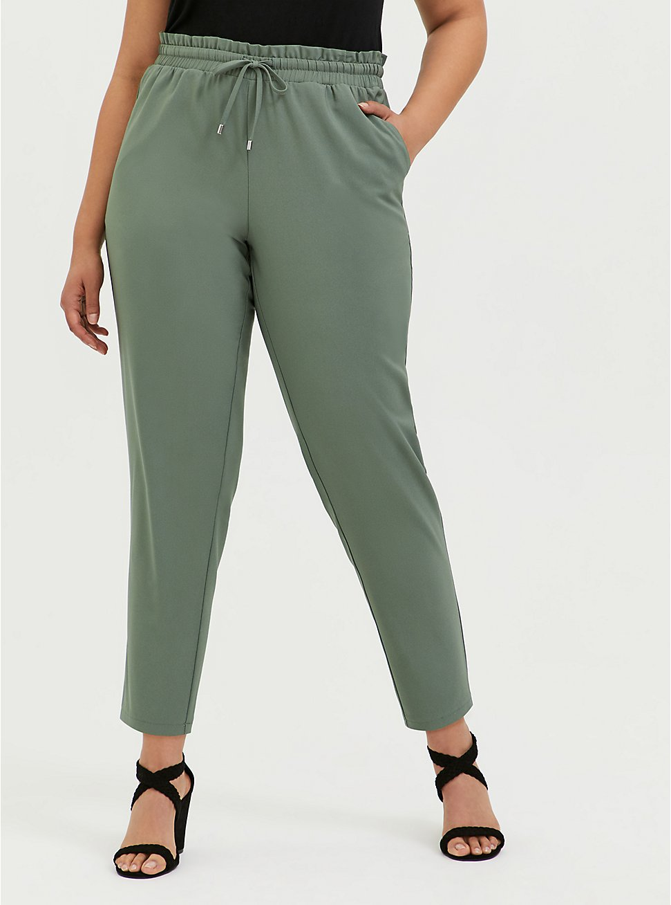 Light Olive Green Crepe Paperbag Waist Tapered Pant, AGAVE GREEN, hi-res
