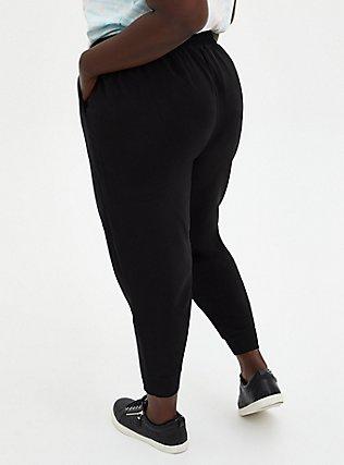 Black Drawstring Dressy Crop Jogger, DEEP BLACK, alternate
