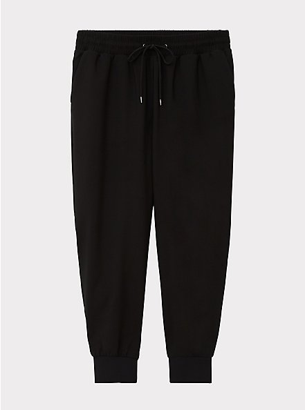 Relaxed Fit Crop Jogger - Dressy Twill Black, DEEP BLACK, hi-res
