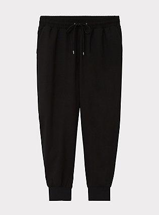 Black Drawstring Dressy Crop Jogger, DEEP BLACK, flat