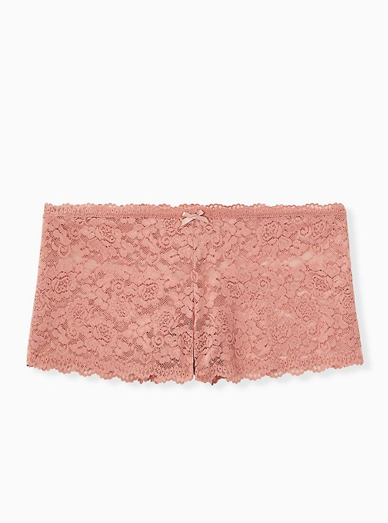 Plus Size Dusty Pink Lace Cheeky Panty, , hi-res