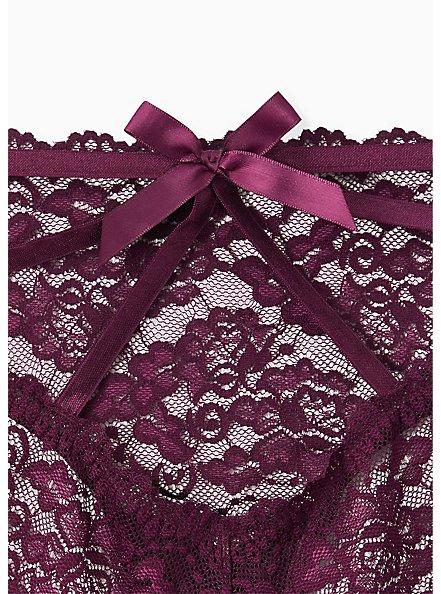 Grape Purple Lace Cage Back Hipster Panty, POTENT PURPLE, alternate