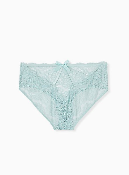 Mint Blue Lace Cage Back Hipster Panty, HARBOR GRAY, hi-res