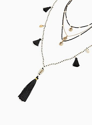 Plus Size Black & White Beaded Tassel Layered Necklace, , alternate