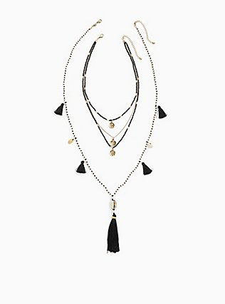 Plus Size Black & White Beaded Tassel Layered Necklace, , hi-res