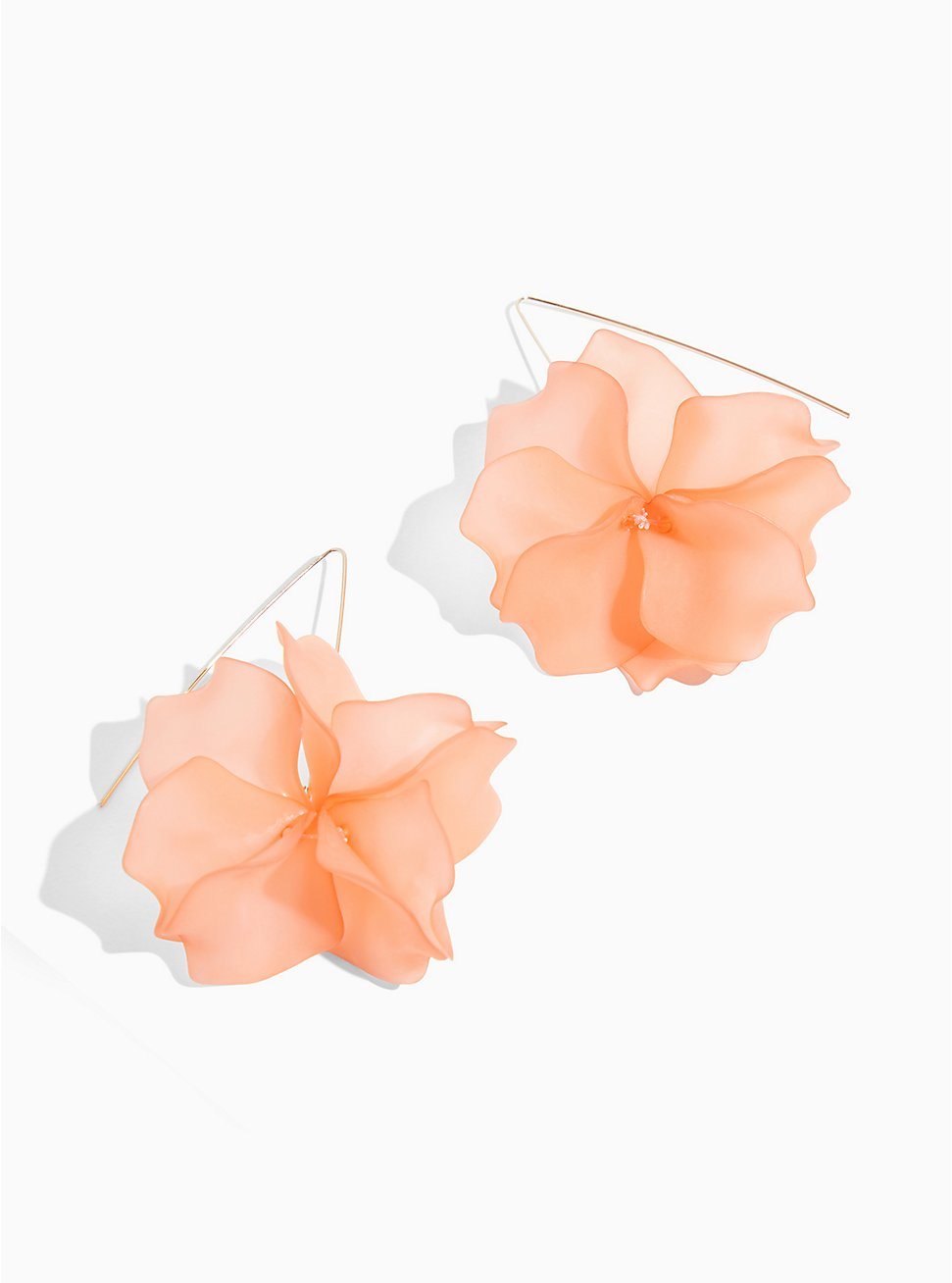 Plus Size Peach Floral Earrings, , hi-res