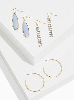 Plus Size Gold-Tone Grey Dangle & Hoop Earrings Set - Set of 3, , hi-res