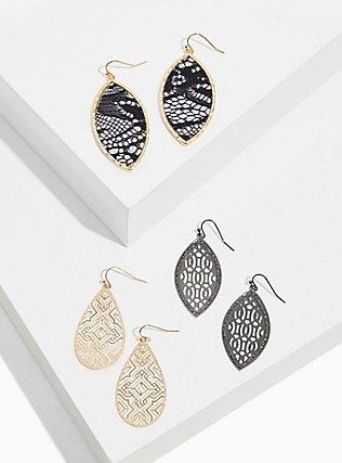 Plus Size Black Lace Filigree Earrings Set - Set of 3, , hi-res