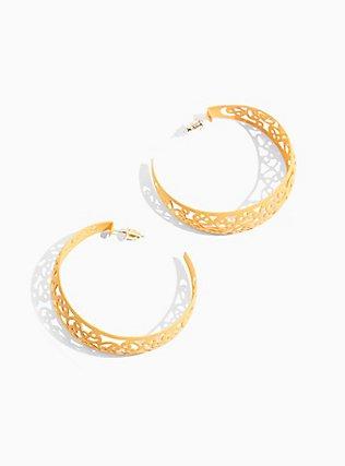 Plus Size Mustard Yellow Filigree Hoop Earrings, , hi-res