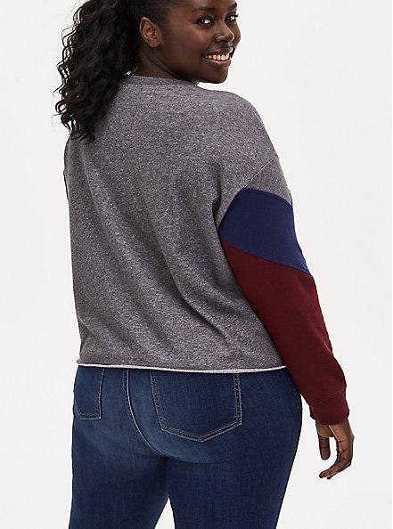 Wonder Woman 84 Logo Grey Colorblock Sleeve Crop Sweatshirt , MULTI, alternate