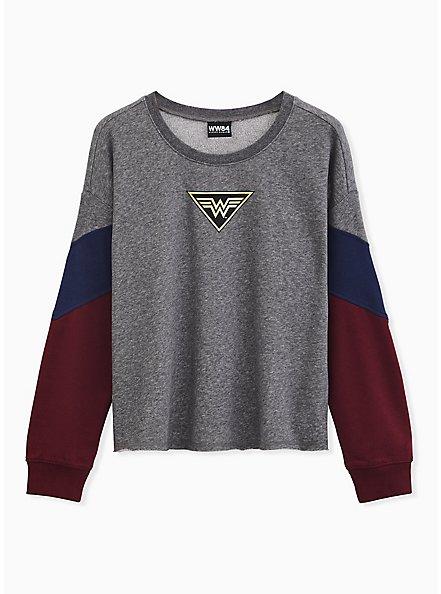 Wonder Woman 84 Logo Grey Colorblock Sleeve Crop Sweatshirt , MULTI, hi-res