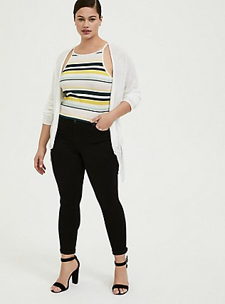 Multi Stripe Ribbed High Neck Crop Cami, MULTI STRIPE, alternate