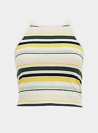 Multi Stripe Ribbed High Neck Crop Cami, MULTI STRIPE, flat