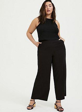 Black High Rise Wide Leg Pant, DEEP BLACK, alternate