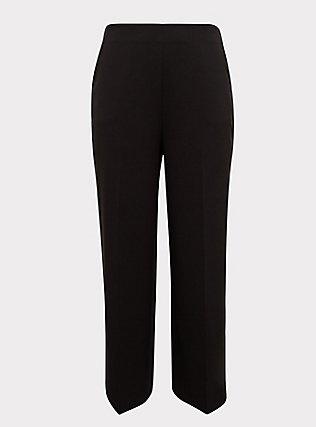 Black High Rise Wide Leg Pant, DEEP BLACK, flat