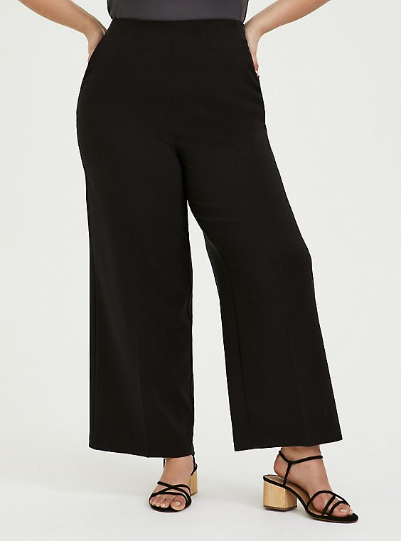 Black High Rise Wide Leg Pant, , hi-res