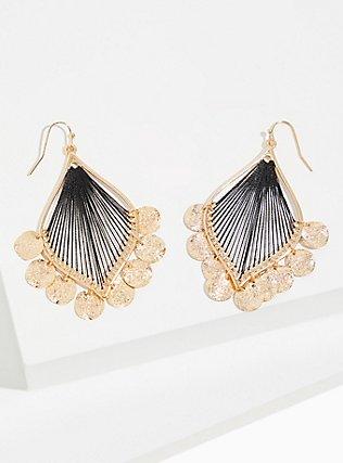 Plus Size Gold-Tone Black Thread Dangle Earrings, , hi-res