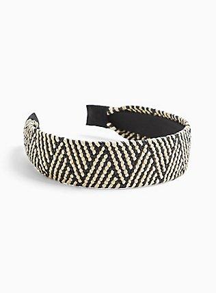Plus Size Black & White Woven Raffia Headband, , alternate