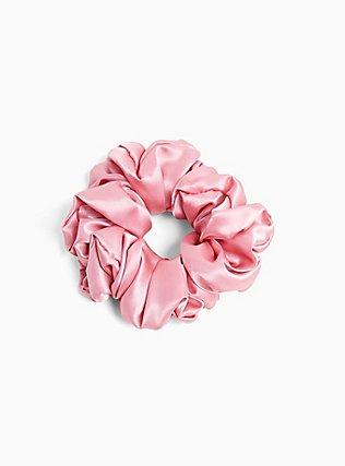 Plus Size Dusty Rose Satin Oversized Hair Tie, , hi-res