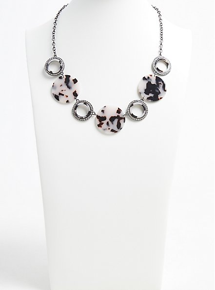 Plus Size Hematite-Tone Rhinestone & Resin Statement Necklace, , hi-res