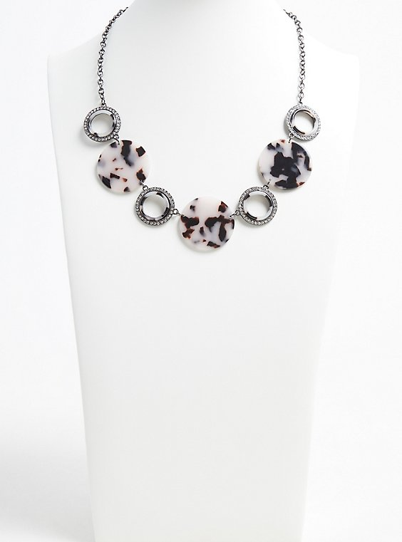 Hematite-Tone Rhinestone & Resin Statement Necklace, , hi-res