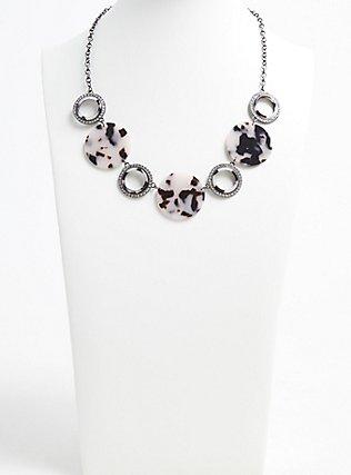 Plus Size Hematite-Tone Rhinestone & Resin Statement Necklace, , hi-res