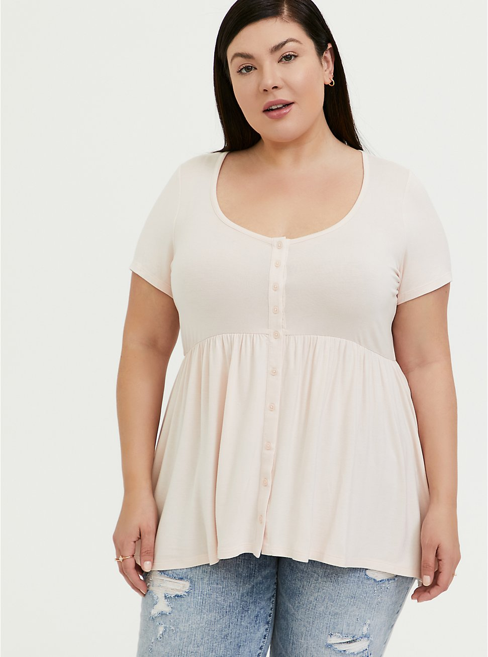 Plus Size Super Soft Light Pink Button Front Babydoll Top, PEACH BLUSH, hi-res