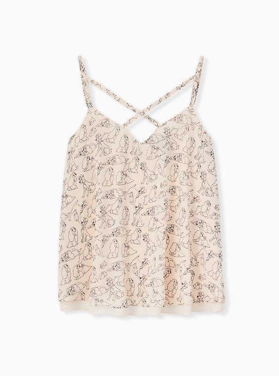 Plus Size Disney Lady & The Tramp Light Pink Double Layer Swing Cami, MULTI, hi-res