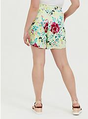 Plus Size Drawstring Mid Short - Crinkle Gauze Floral Yellow, FLORAL, alternate