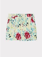 Drawstring Mid Short - Crinkle Gauze Floral Yellow, FLORAL, hi-res
