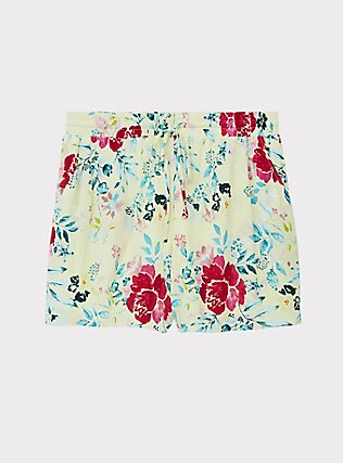 Drawstring Mid Short - Crinkle Gauze Floral Yellow, FLORAL, flat
