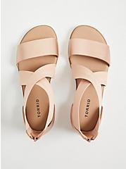 Rose Gold Faux Leather & Stretch Ankle Sandal (WW), ROSE GOLD, alternate