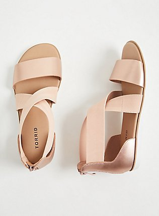Plus Size Rose Gold Faux Leather & Stretch Ankle Sandal (WW), ROSE GOLD, alternate