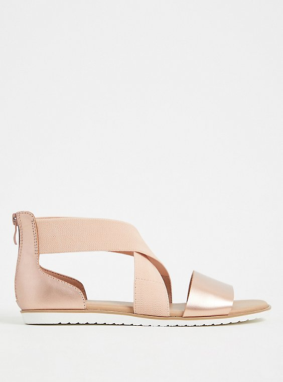 Rose Gold Faux Leather & Stretch Ankle Sandal (WW), , hi-res