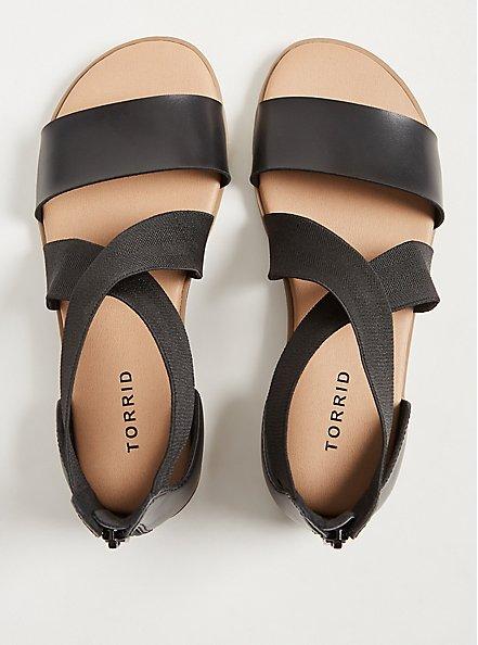 Black Faux Leather & Stretch Gladiator Sandal (WW), BLACK, alternate