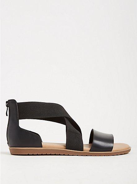 Black Faux Leather & Stretch Gladiator Sandal (WW), BLACK, hi-res