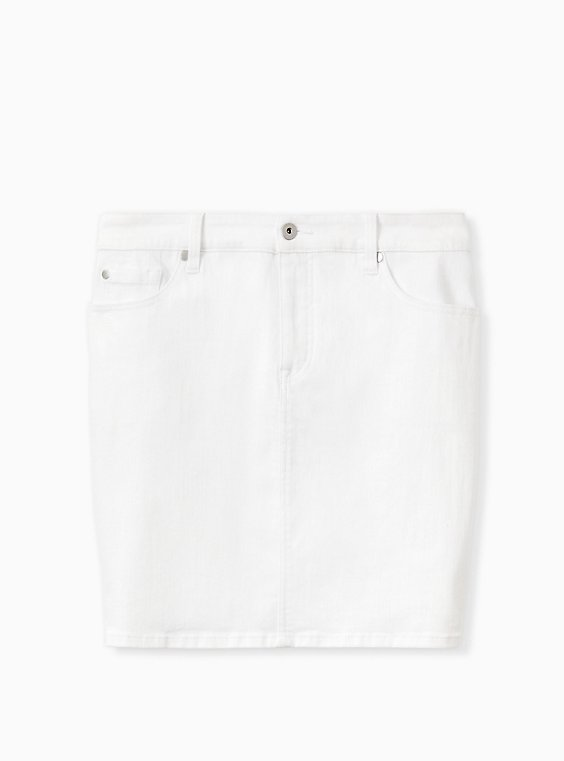 Plus Size Denim Mini Skirt - White , , hi-res