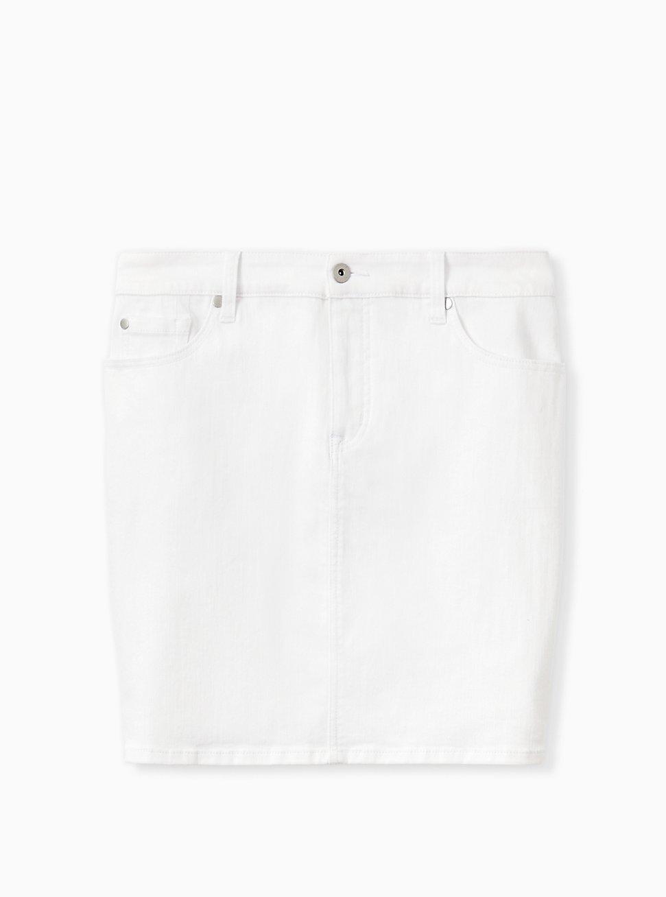 Plus Size Denim Mini Skirt - White , WHITE, hi-res