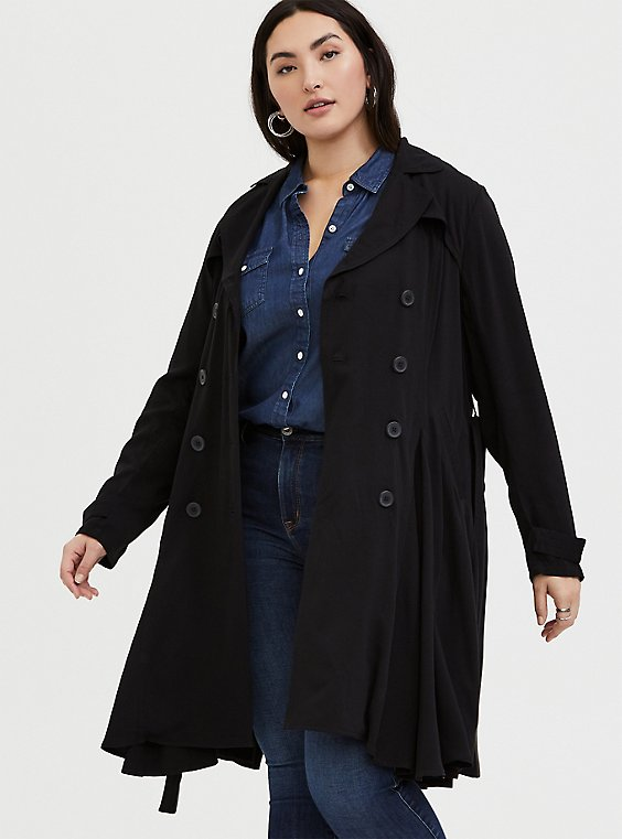 Black Twill Fit & Flare Trench Coat, , hi-res