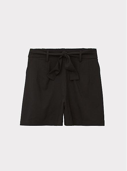 Tie Front Mid Short - Crepe Black, DEEP BLACK, hi-res