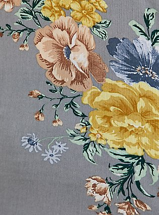 Light Stone Grey Floral Crinkled Gauze Cold Shoulder Blouse, FLORAL - GREY, alternate