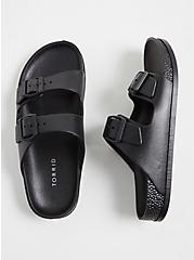 Black Rubber Dual Strap Slide (WW), BLACK, alternate