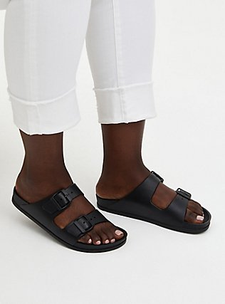 Plus Size Black Rubber Dual Strap Slide (WW), BLACK, hi-res