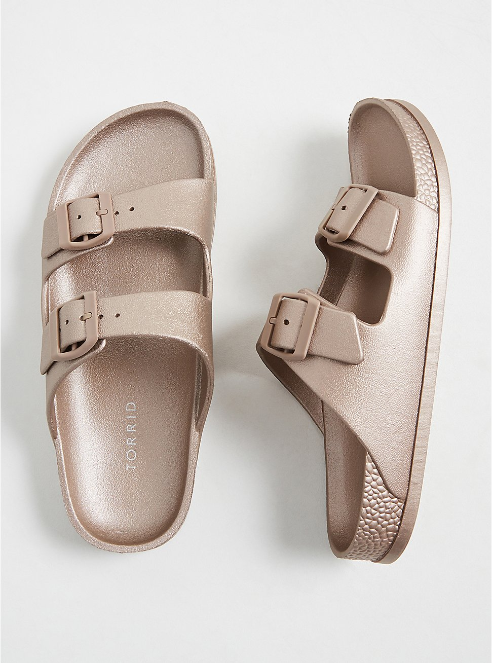Plus Size Rose Gold Rubber Dual Strap Slide (WW), , hi-res