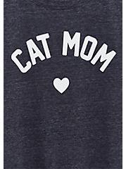 Cat Mom Slim Fit Crew Tee - Triblend Jersey Navy, PEACOAT, alternate