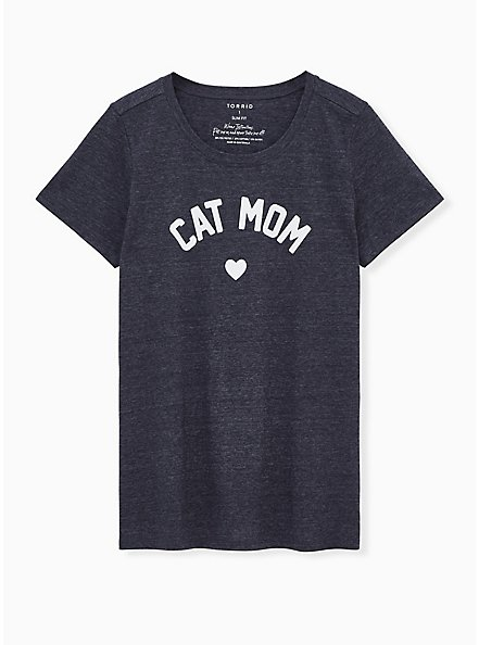 Cat Mom Slim Fit Crew Tee - Triblend Jersey Navy, PEACOAT, hi-res